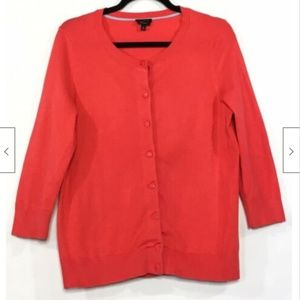 Talbots Button Down Front Cardigan Sweater Coral